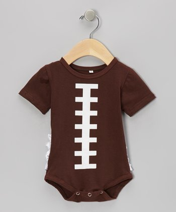 Brown Football Ruffle Bodysuit - Infant