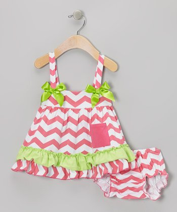 Pink & Green Zigzag Ruffle Swing Top & Diaper Cover - Infant