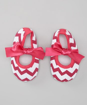 Hot Pink Zigzag Bow Flat