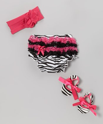 Pink Zebra Ruffle Diaper Cover Set