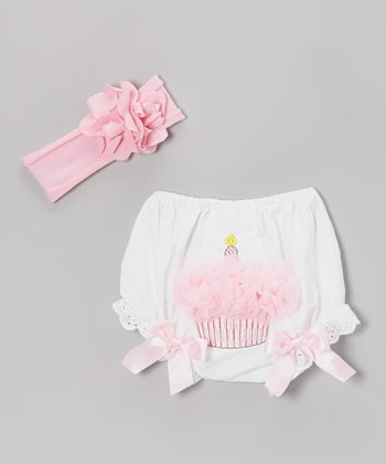 White Lace Diaper Cover & Pink Headband