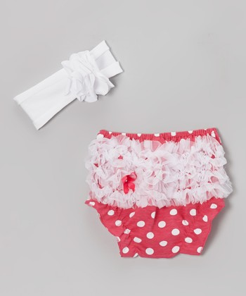 Pink Polka Dot Ruffle Diaper Cover & White Headband - Infant
