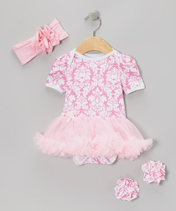 Pink Damask Skirted Bodysuit Set