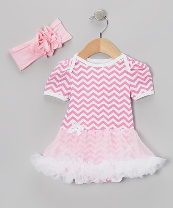 Pink Zigzag Skirted Bodysuit & Headband