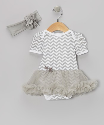 Gray Zigzag Skirted Bodysuit & Headband