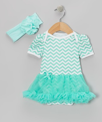Teal Zigzag Skirted Bodysuit & Headband