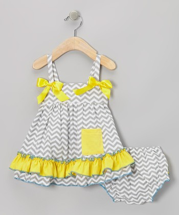 Gray & Yellow Zigzag Ruffle Swing Top & Diaper Cover - Infant