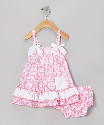 Pink Damask Ruffle Swing Top & Diaper Cover - Infant