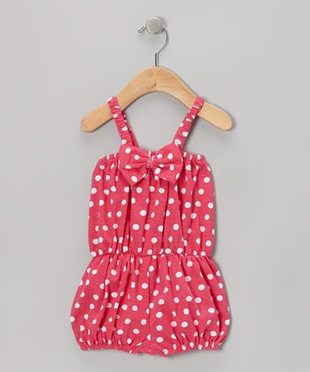 Hot Pink Polka Dot Bow Romper - Infant & Toddler