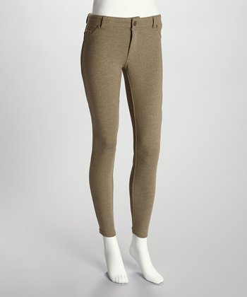 Olive Heather French Terry Jeggings