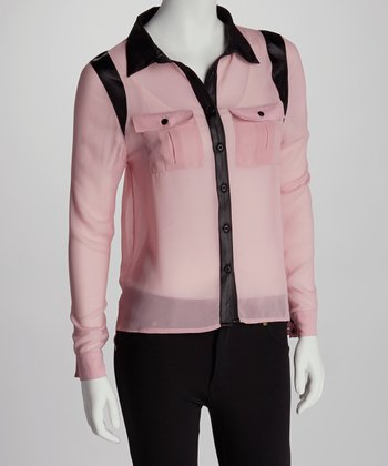 Blush Pink & Black Chiffon Pleather Hi-Low Button-Up