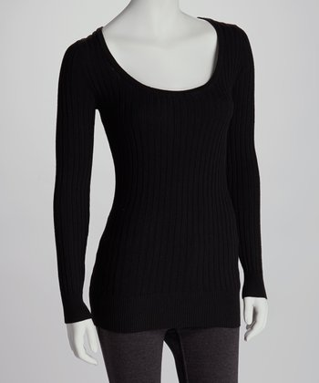 Black Scoop Neck Sweater