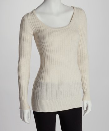 Oatmeal Heather Scoop Neck Sweater
