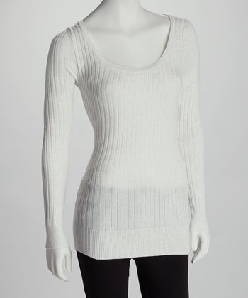 White Heather Scoop Neck Sweater