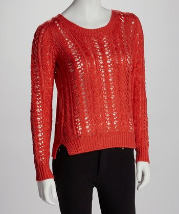 Coral Orange Twist Cable-Knit Boatneck Sweater