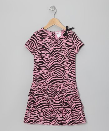 Pink & Black Zebra Ruffle Dress - Girls