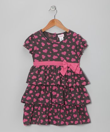Gray & Pink Heart Tiered Ruffle Dress - Girls
