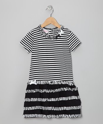 Black & White Stripe Ruffle Dress - Girls