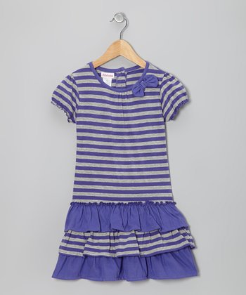 Purple & Gray Stripe Ruffle Dress - Girls