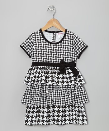 Black & White Houndstooth Tiered Ruffle Dress - Girls