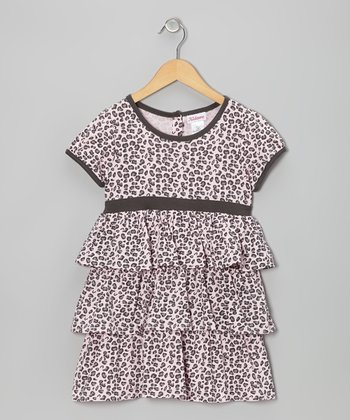 Pink & Gray Leopard Tiered Ruffle Dress - Girls