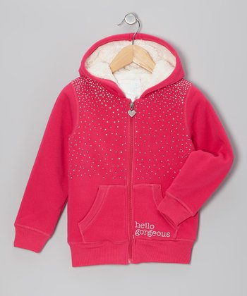 Berry Rhinestone Sherpa Zip-Up Hoodie - Girls