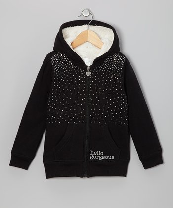Black Rhinestone Sherpa Zip-Up Hoodie - Girls