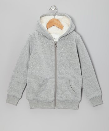 Heather Gray Rhinestone Sherpa Zip-Up Hoodie - Girls