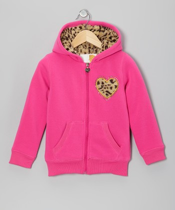 Pink Leopard Heart Zip-Up Hoodie - Toddler & Girls