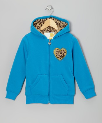 Blue Leopard Heart Zip-Up Hoodie - Toddler & Girls