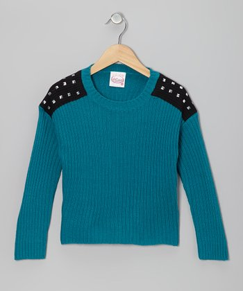 Steel Blue Studded-Shoulder Sweater - Girls