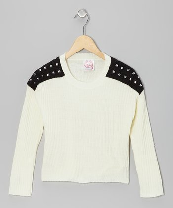 White Studded-Shoulder Sweater - Girls
