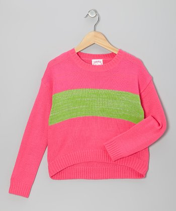 Fuchsia & Lime Glitter Stripe Sweater - Girls