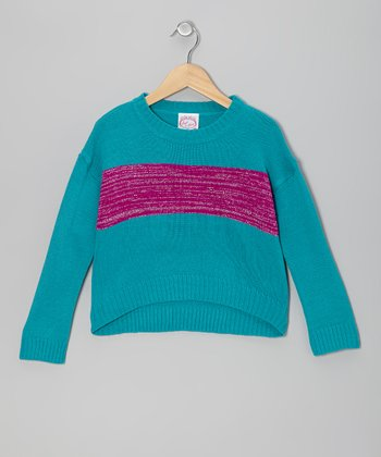 Blue & Purple Glitter Stripe Sweater - Girls