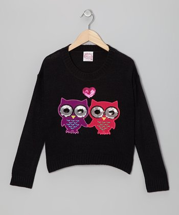 Black Sequin Owl Sweater - Girls