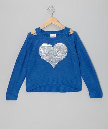 Blue Sequin Heart Cutout Sweater - Girls