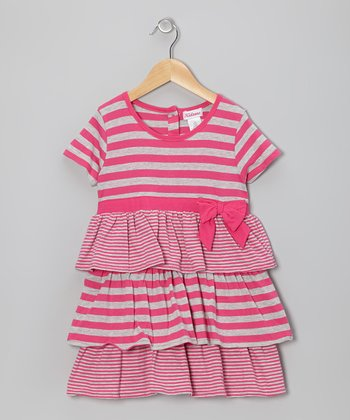 Pink & Gray Tier Ruffle Dress - Toddler & Girls
