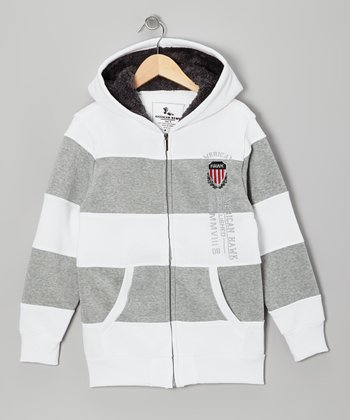 White & Gray Stripe Zip-Up Hoodie - Boys