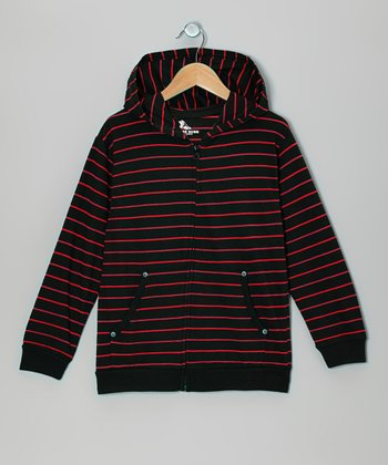 Red & Black Stripe Zip-Up Hoodie - Boys