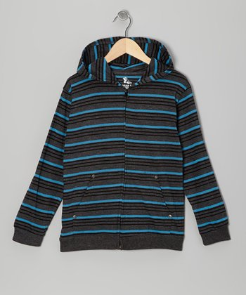 Gray & Blue Stripe Zip-Up Hoodie - Boys