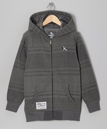 Light Gray Stripe Zip-Up Hoodie - Boys