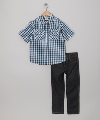 Blue Plaid Button-Up & Gray Jeans - Boys