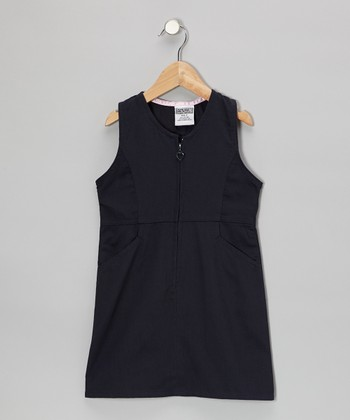 Navy Zip-Front Shift Dress - Girls
