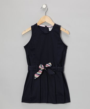 Navy Belted Shift Dress - Girls