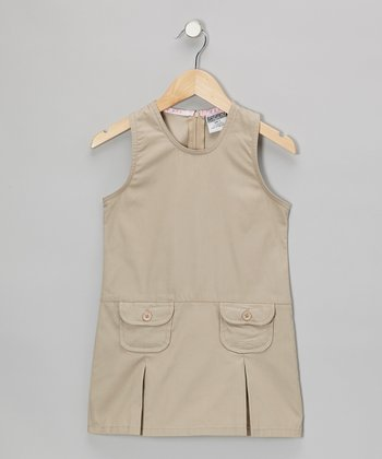 Khaki Pocket Shift Dress - Girls