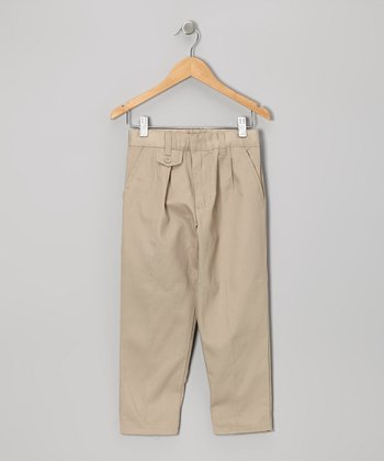 Khaki Pleated Straight-Leg Pants - Girls