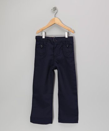 Navy Button-Pocket Pants - Girls