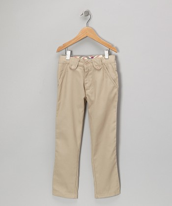 Khaki Button-Tab Pants - Girls