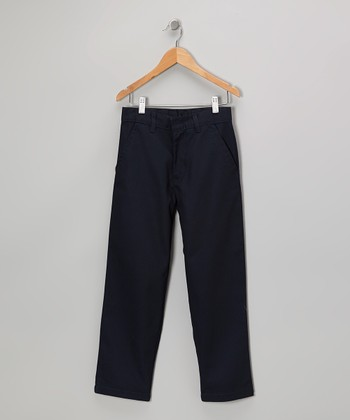 Navy Button-Tab Pants - Girls
