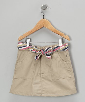Khaki & Pink Tie-Belt Skirt - Girls